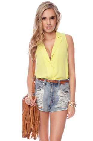Strapped and Sleeveless Button Down Shirt