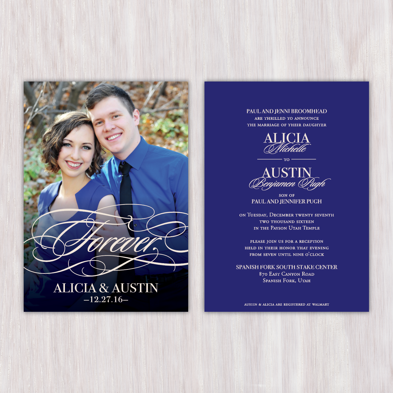 Modern Navy Blue Mixed Typography Forever Overlay Double Sided