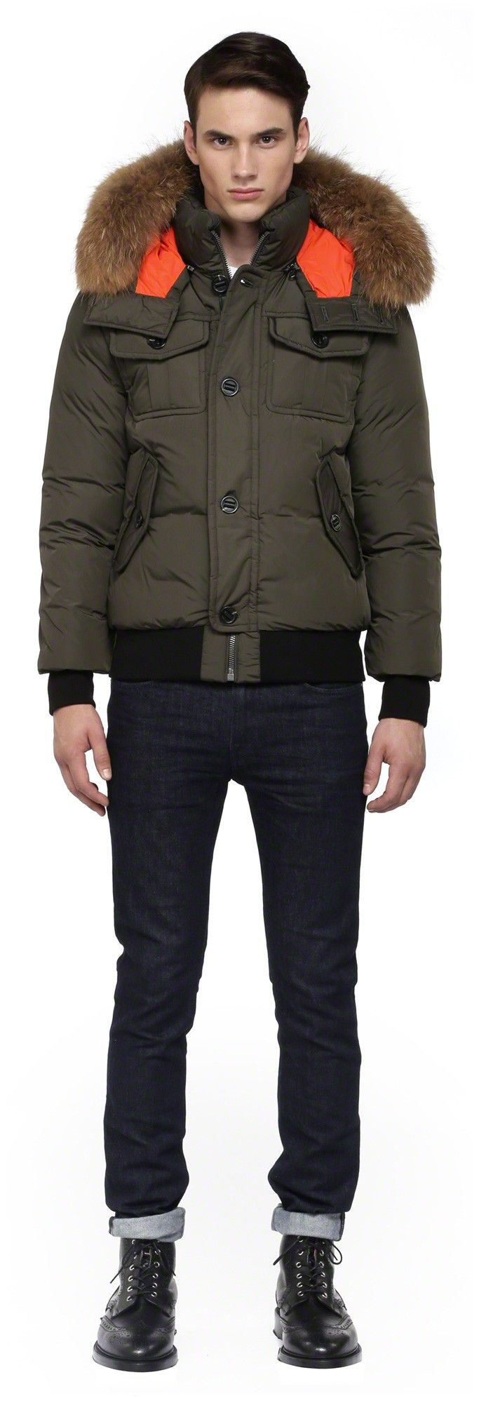 Mackage - GARY-F4 BLACK WINTER DOWN BOMBER JACKET FOR MEN WITH