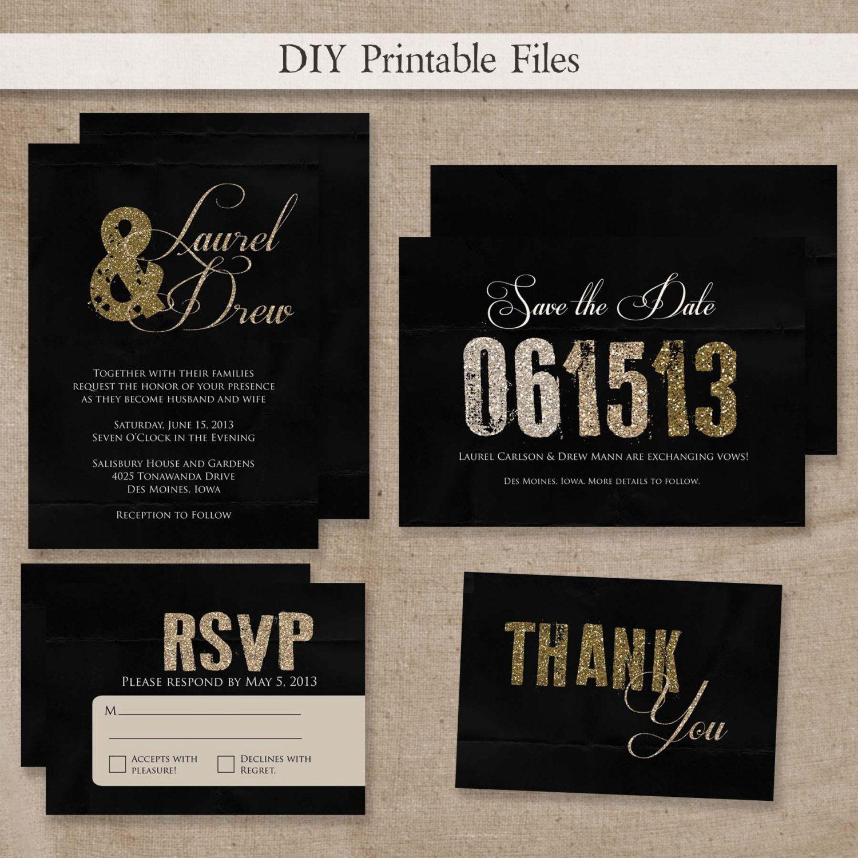 Printable Modern Gold Black Glitter Wedding Invitation Set Diy Files 55 00 Via