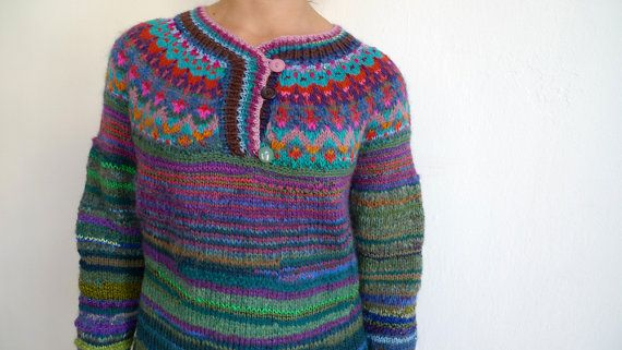 42ef17b665be67 Handmade bright and colorful unisex sweater by TASSSHA on Etsy ...