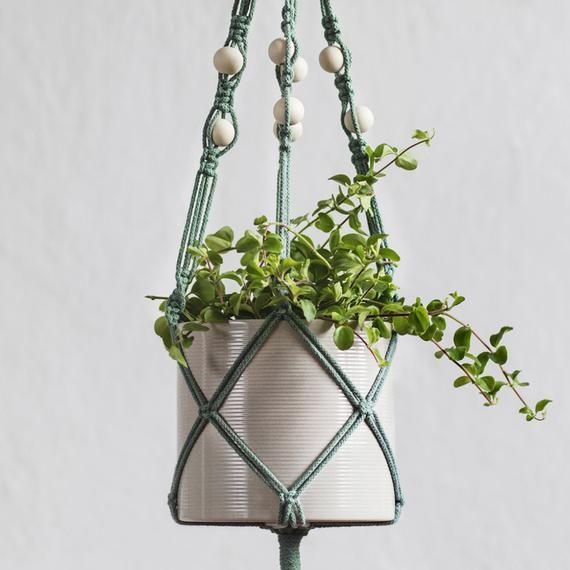 """Photo of DIY-sett Macrame Flower Lamp """"Laurel"""" med treperler, firstrenget, egnet for nybegynnere"""