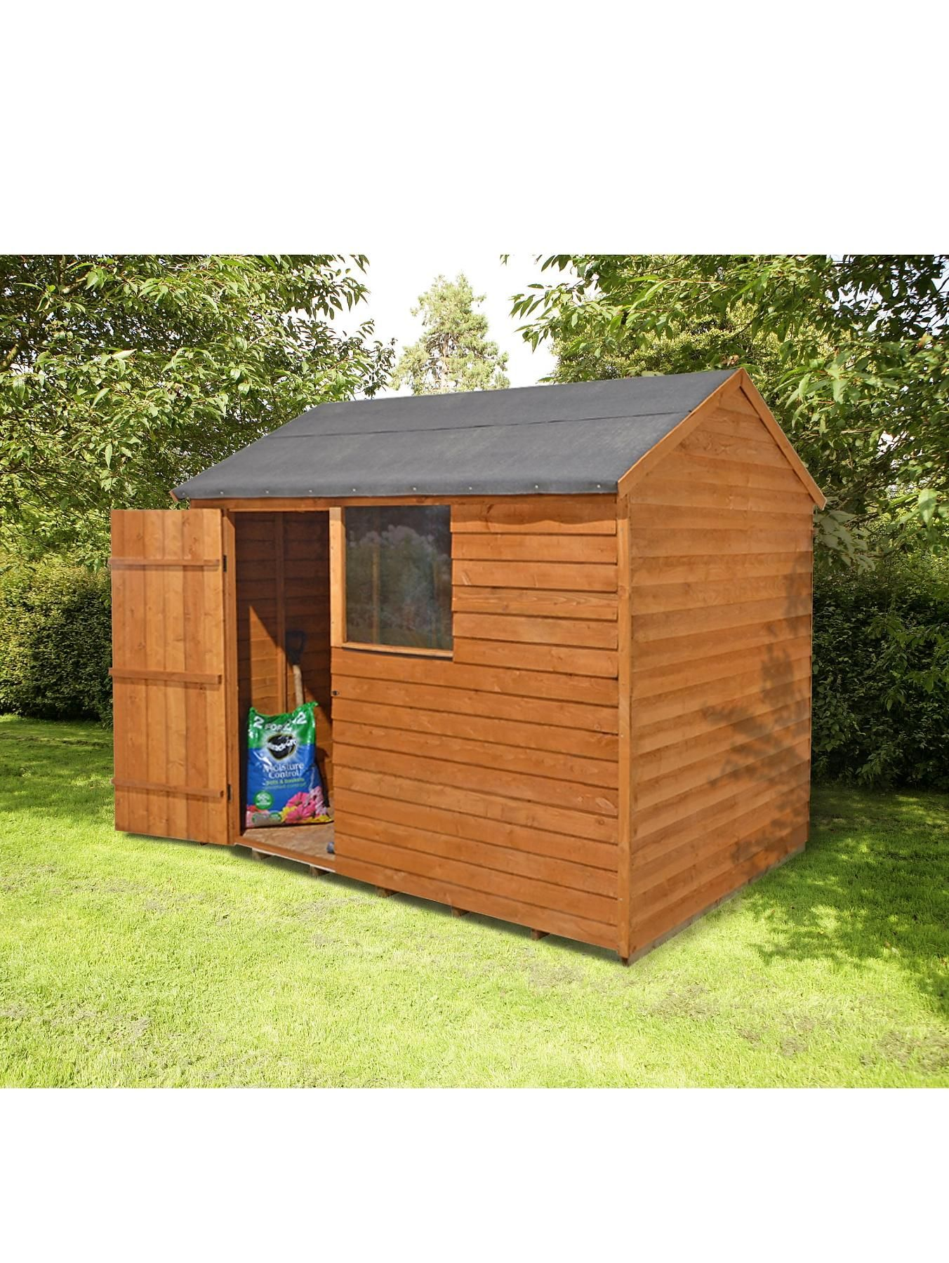 forest reverse apex wooden garden shed 8 x 6 ft verycouk - Garden Sheds Very
