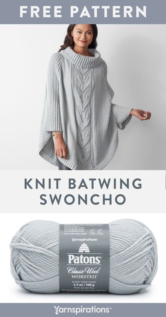 Free knit Batwing Swoncho pattern using Patons Classic Wool Worsted yarn. Work up a stylish swoncho with batwing sleeves and a rich center cable. This cute pattern features knit, knit 2 together, slip slip knit and yarn over techniques. #yarnspirations #freeknitpattern #Batwing #Classic #Free #Free knit Batwing Swoncho pattern using Patons Classic Wool Worsted yarn #Knit #Patons #Pattern #Swoncho #Wool #Work #Worsted #Yarn
