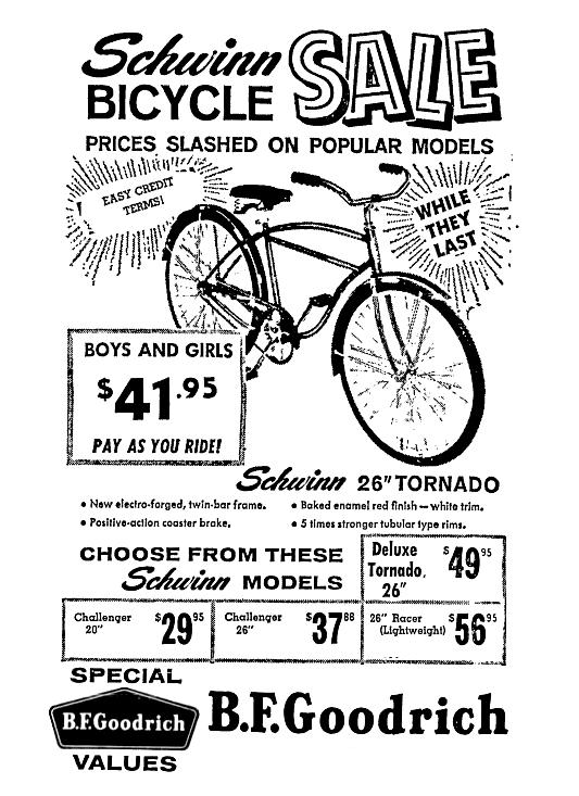 Bf Goodrich Schwinn Bicycle Sale May 1961 Schwinn Bicycles