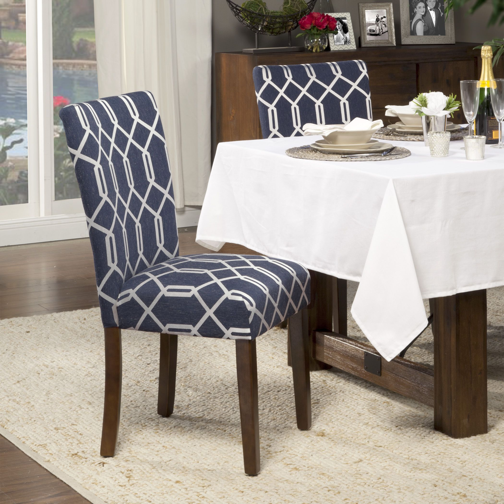 HomePop Navy Blue Cream Lattice Elegance Parson Chairs (Set Of   Overstock  Shopping   Great Deals On HomePop Dining Chairs