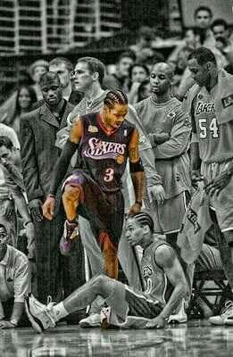 Allen Iverson In Playoff 76ers Vs Lakers Iverson Is A Scoring Machine And A Hero Of 76ers Sports Basketball Allen Iverson Nba Sports