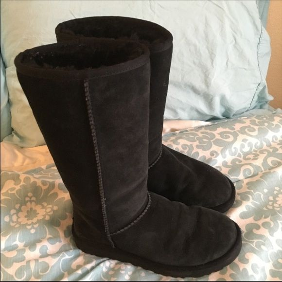Black tall UGG boots Black tall UGG Boots  Authentic  Women's size 7 Gently used but in great condition still  No flaws or defects  Smoke free and pet free home  Fur in great condition not matted UGG Shoes Winter & Rain Boots