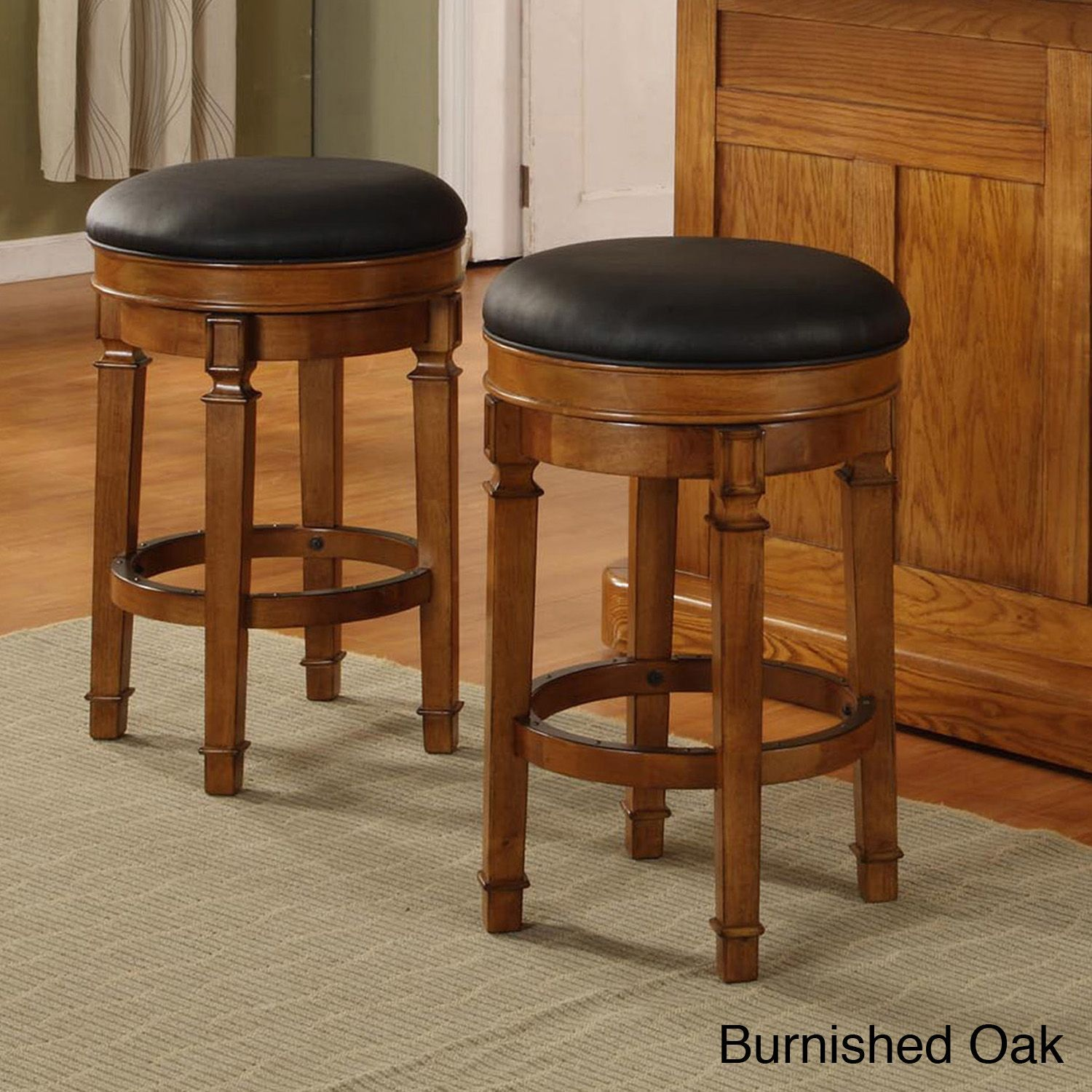 Elegant Oak Backless Bar Stools