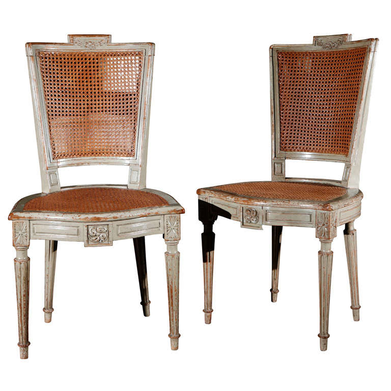 Suite Of Eight Antique Louis XVI Style Painted Dining Chairs | From A  Unique Collection Of