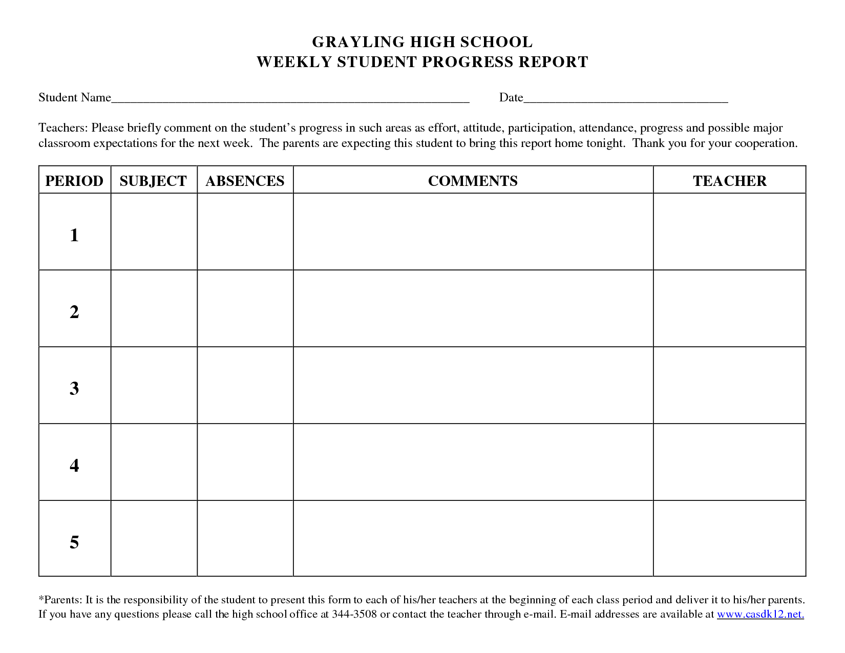 Progress Report Template For High School Students  Google Search