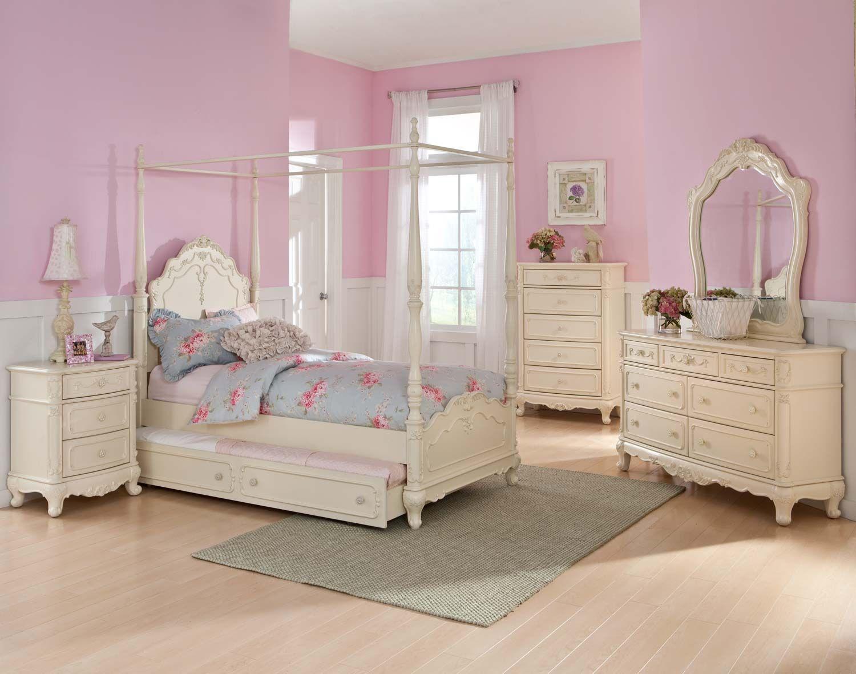 Homelegance Cinderella Poster Bedroom Set Ecru Girls Bed