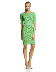 Green Maggy London Women's Flower Lace Elbow-Sleeve Dress  #lace