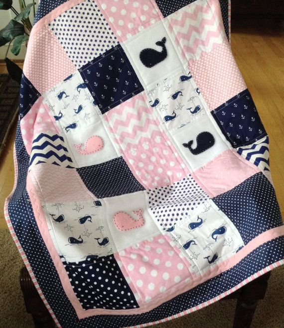 Baby Whale Quilt in pink navy and white by Lovesewnseams on Etsy ... : baby quilted blanket - Adamdwight.com