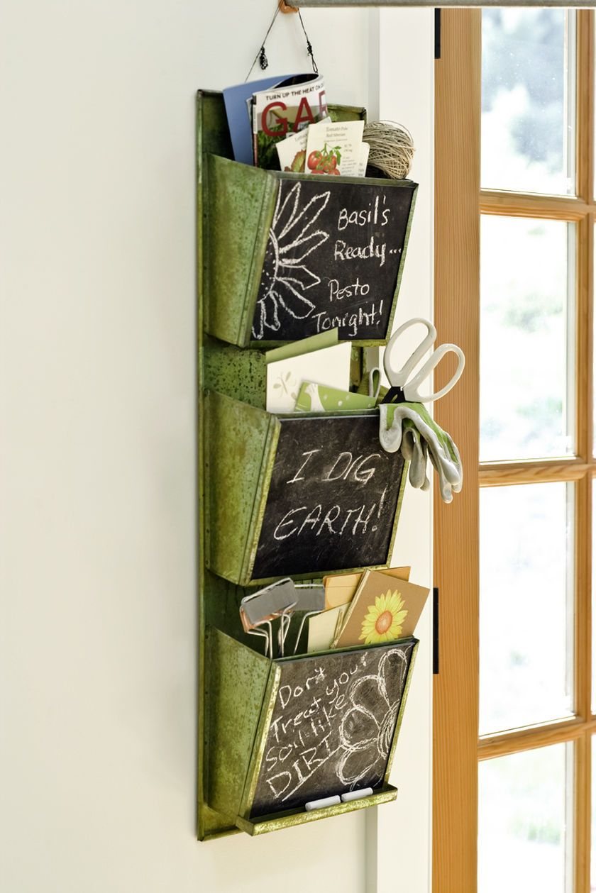 Wall Hanging Mail Organizer. I think I can make this. Maybe without the chalkboard though.