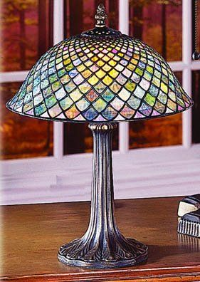 Style by Paul Sahlin Tiffany Floor Lamp, Small Fish Scale Desk Lamp Tiffany Style by Paul Sahlin