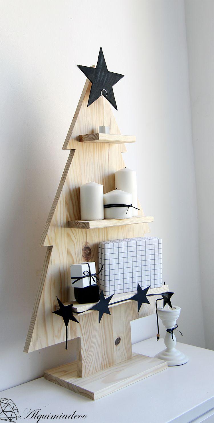 Diy arbol de navidad de madera rboles de navidad de for Muebles decorados de navidad
