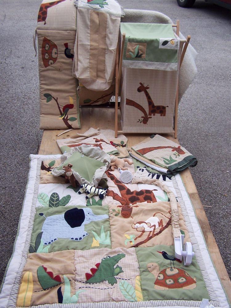 t baby crib bedding nursery set boy zanzibar jungle zoo animals
