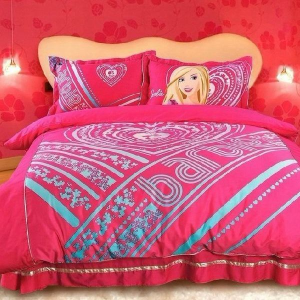 bright pink barbie bedding for girls