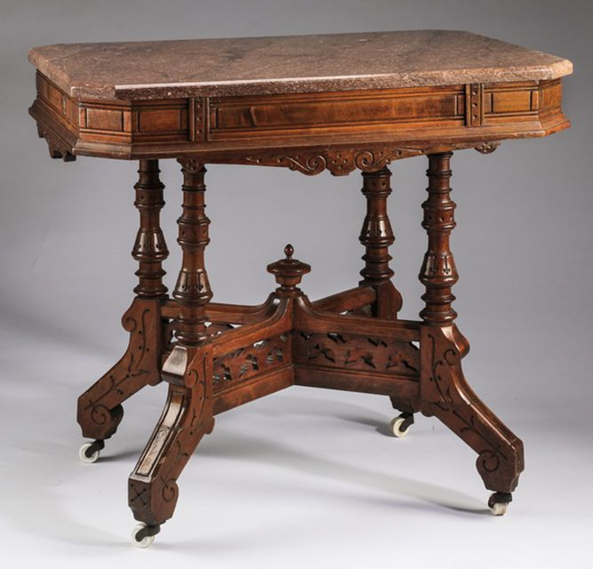 Learn to Identify Eastlake Furniture: Another Eastlake Example - Learn To Identify Eastlake Furniture Marble Top Table, Marble Top