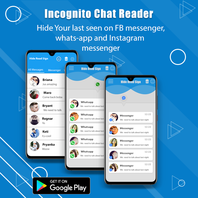 Incognito Chat Reader ,Hide Last Seen, Unseen App is free