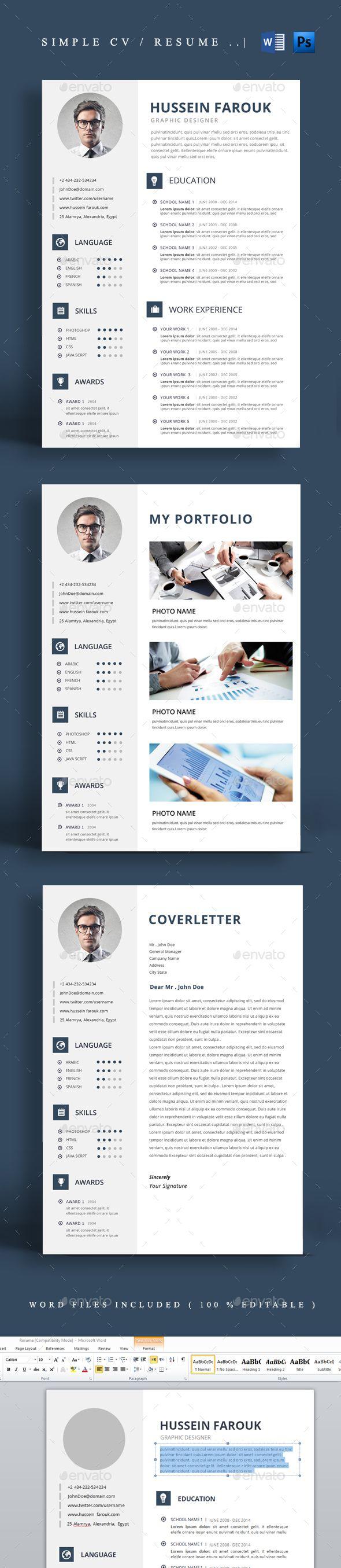 Simple Cv / Resume | Pinterest | Bewerbung, Lebenslauf und Vorlagen ...