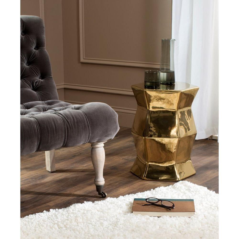 Beautiful Safavieh Modern Hexagon Plated Gold Patio Stool