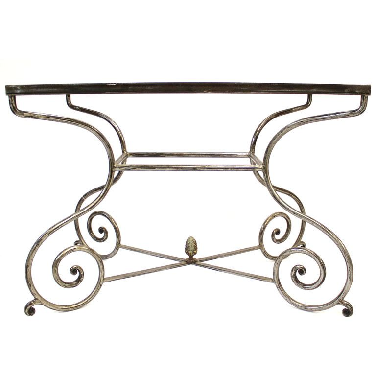 Iron Scroll Table Base France 20th Century French Wrought Iron