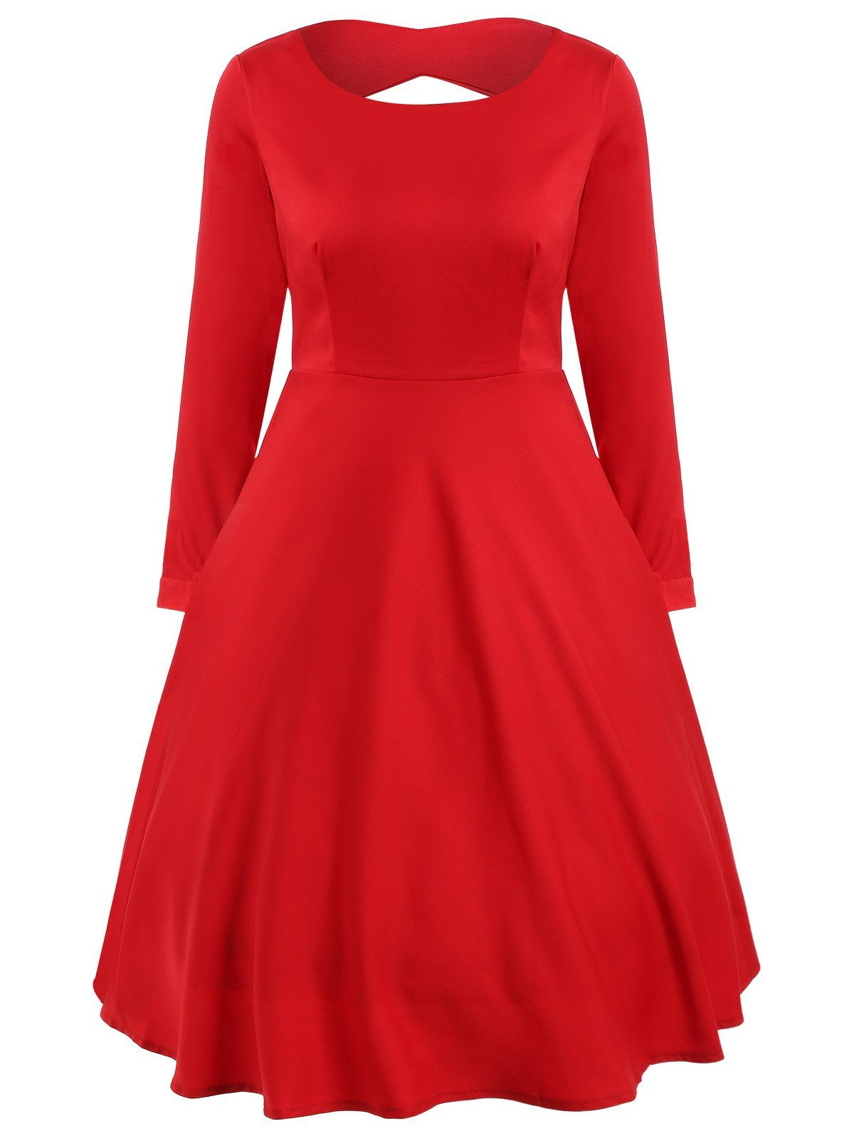 A line cut out long sleeve dress in red sammydress mini