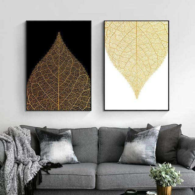 Photo of Nordic Canvas Painting Home Wall Decor Wall Art Poster Modern Nordic Print Luxury Gold Abstract Leaves Picture for Living Room – 50x70cm no frame / 2Pcs