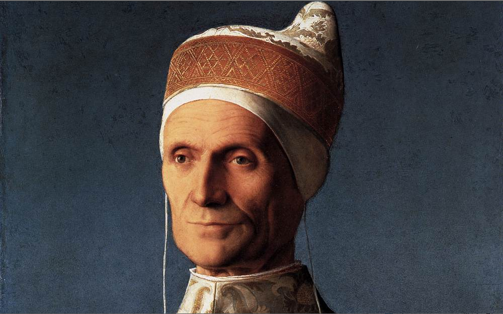 Essentially Magnetic pictures of Giovanni Bellini: a guys wearing a hat and looks like that he is mad at someone
