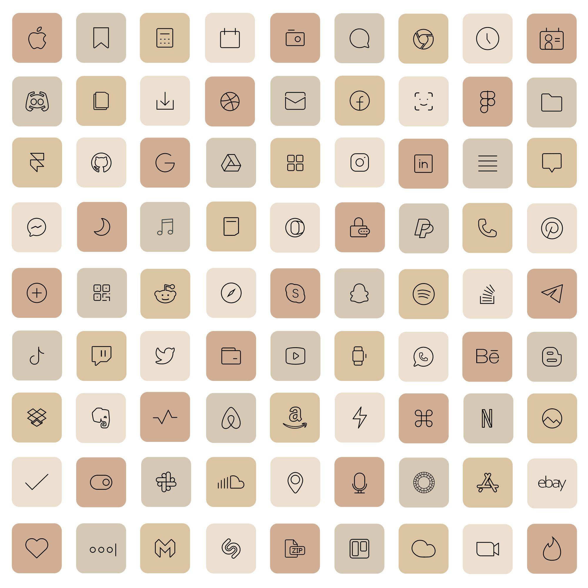 Cream iOS 14 App Icons Light Nude Mode Widget Aest