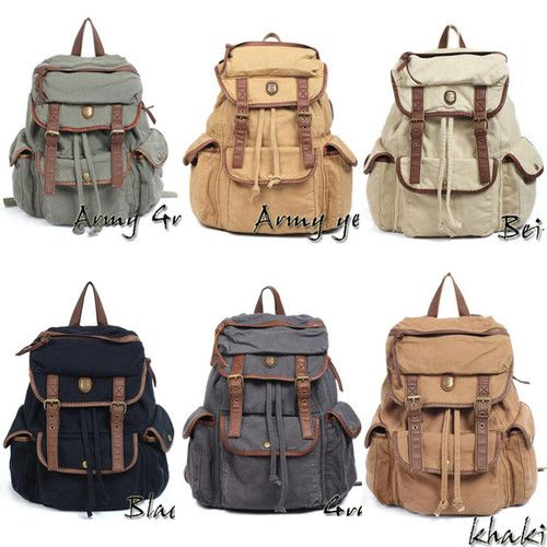 Details about Men's Womens Vintage Canvas Leather Hiking Satchel ...