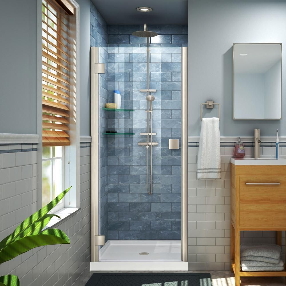 Dreamline Lumen 42 In X 72 In Semi Frameless Hinged Shower Door In Brushed Nickel With 42 In X 32 In Base In White Shower Doors Shower Enclosure Frameless Shower Enclosures