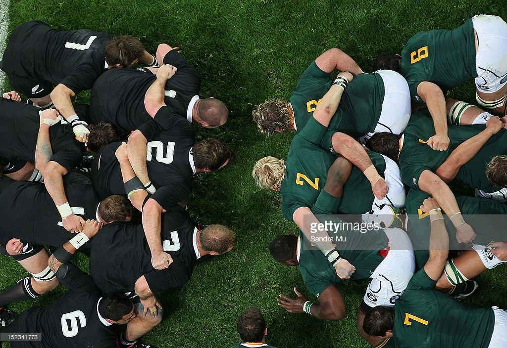 The scrum packs down during the Rugby Championship match