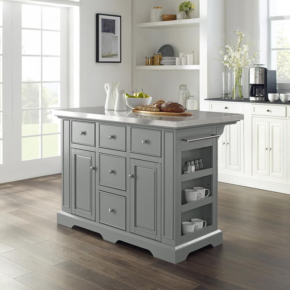 Julia Gray Kitchen Island With Towel Rack Kf30025agy The Home Depot Grey Kitchen Island Small Kitchen Island Grey Kitchen