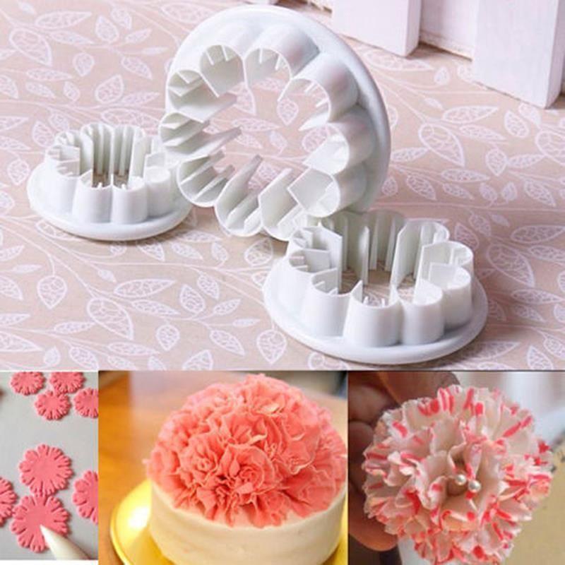 3 Pc Set Carnation Flower Sugarcraft Cutter Fondant Flowers Creative Cake Decorating Fondant Decorations