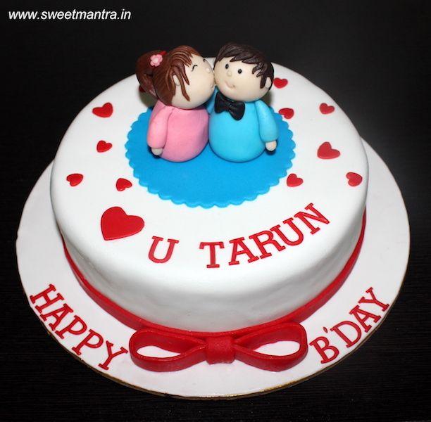 Love Theme Customized Designer Small Fondant Cake With Cute Couple
