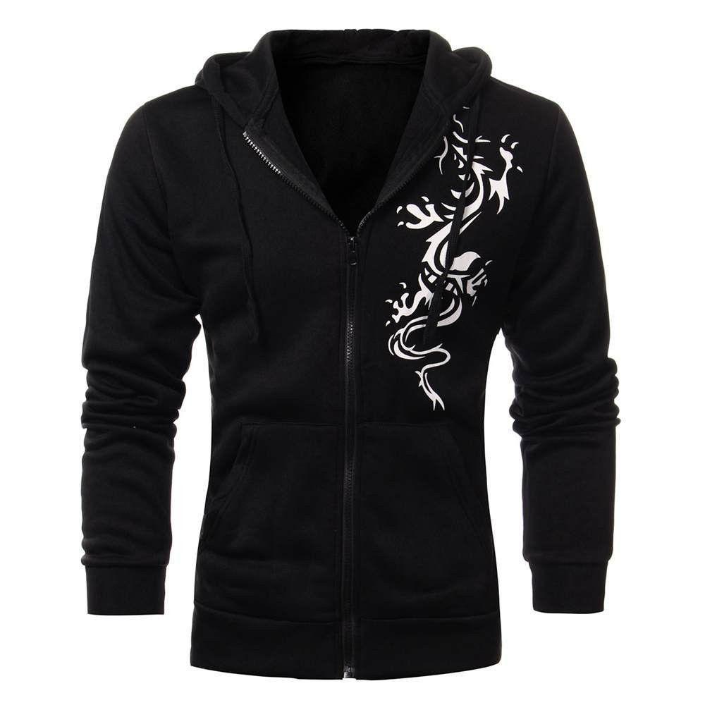 Men's Slim Hooded Fleece Dragon Tattoo Print Casual Cardigan Zipper Sweatshirt