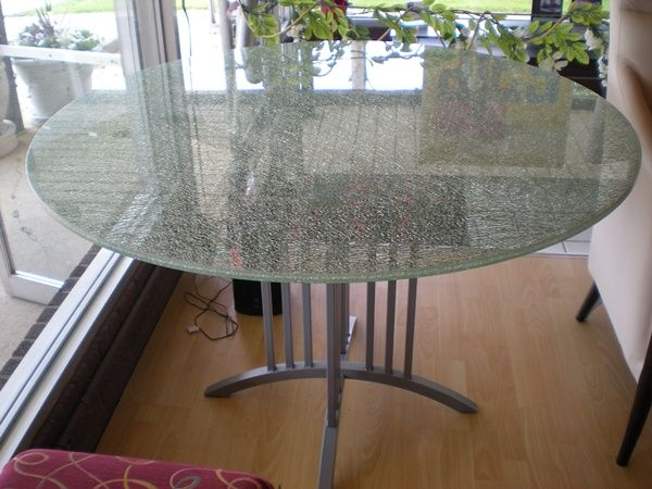 Crackled Glass Table Love In 2019 Glass Dining Table