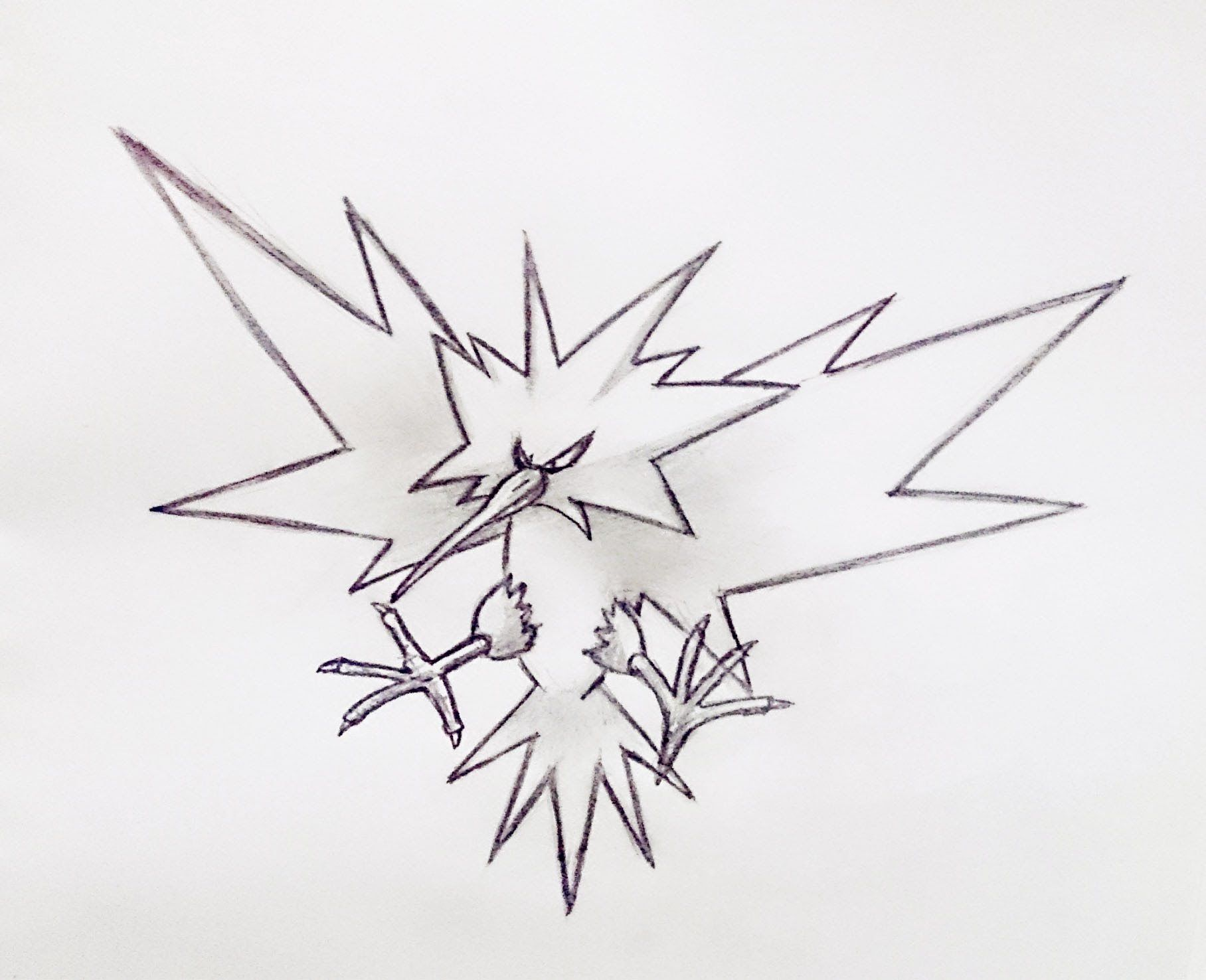 How to Draw Zapdos in few easy steps