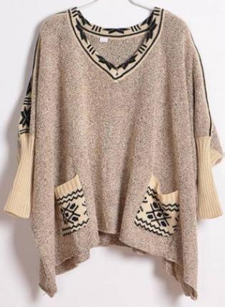 Vintage Bat Sleeve Beige Sweater S004118,  Sweater, Vintage Bat Sleeve Beige Sweater, Chic