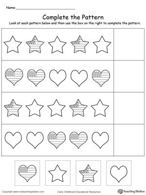 Patriotic Complete the Pattern | Worksheets, Preschool themes and ...