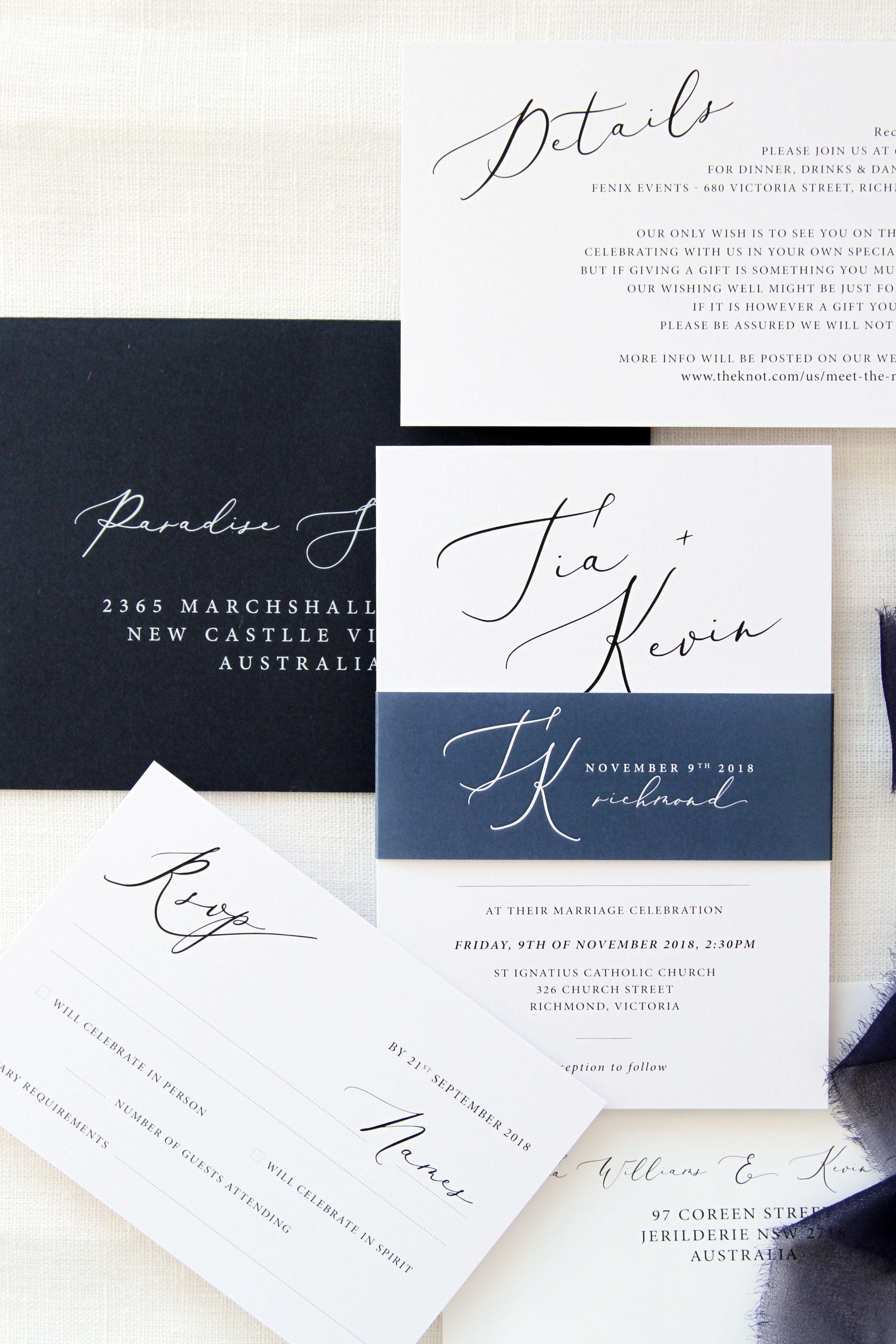 Weddinginvitations Weddingstationary Navyblue Calligraphy Beautiful Classy Elegant Invitations Savethedate Envelope Liners Invitation Set Invitations
