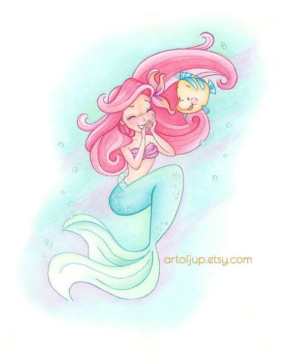 The Little Mermaid Print Ariel Fun With Flounder Wall Art Decor Disney