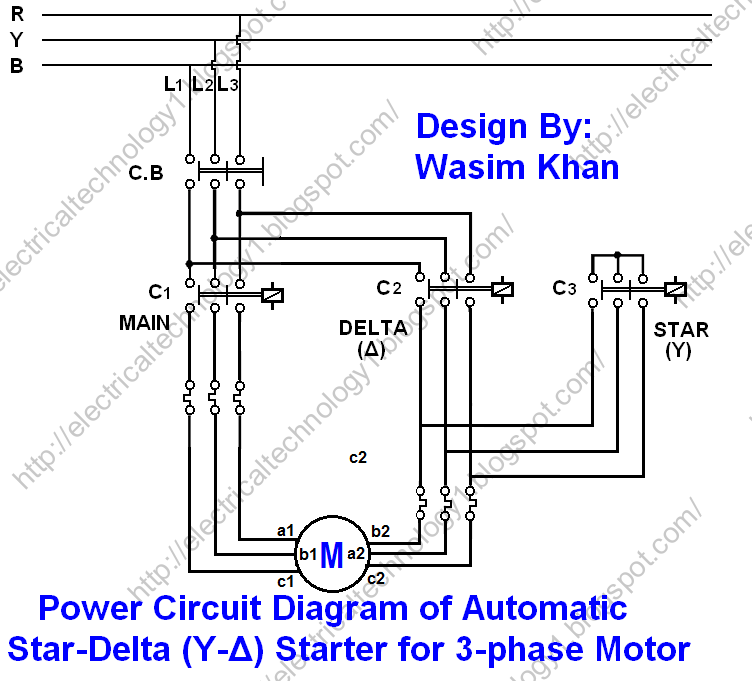 automatic star / delta starter (y-�) with timer for 3-phase induction motor  - star - delta starter wiring, power & control wiring & connection diagrams