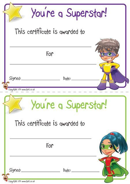 Free printable superhero certificates for your super kids for Kid certificate templates free printable
