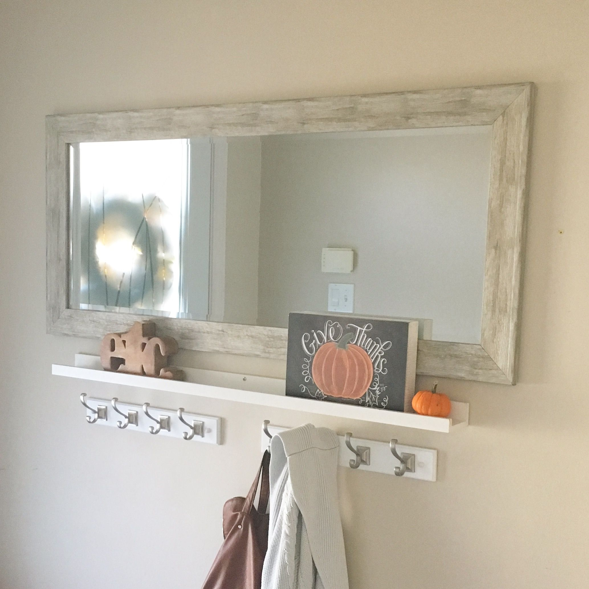 front hall entryway solution a horizontal mirror with shelving rh pinterest com