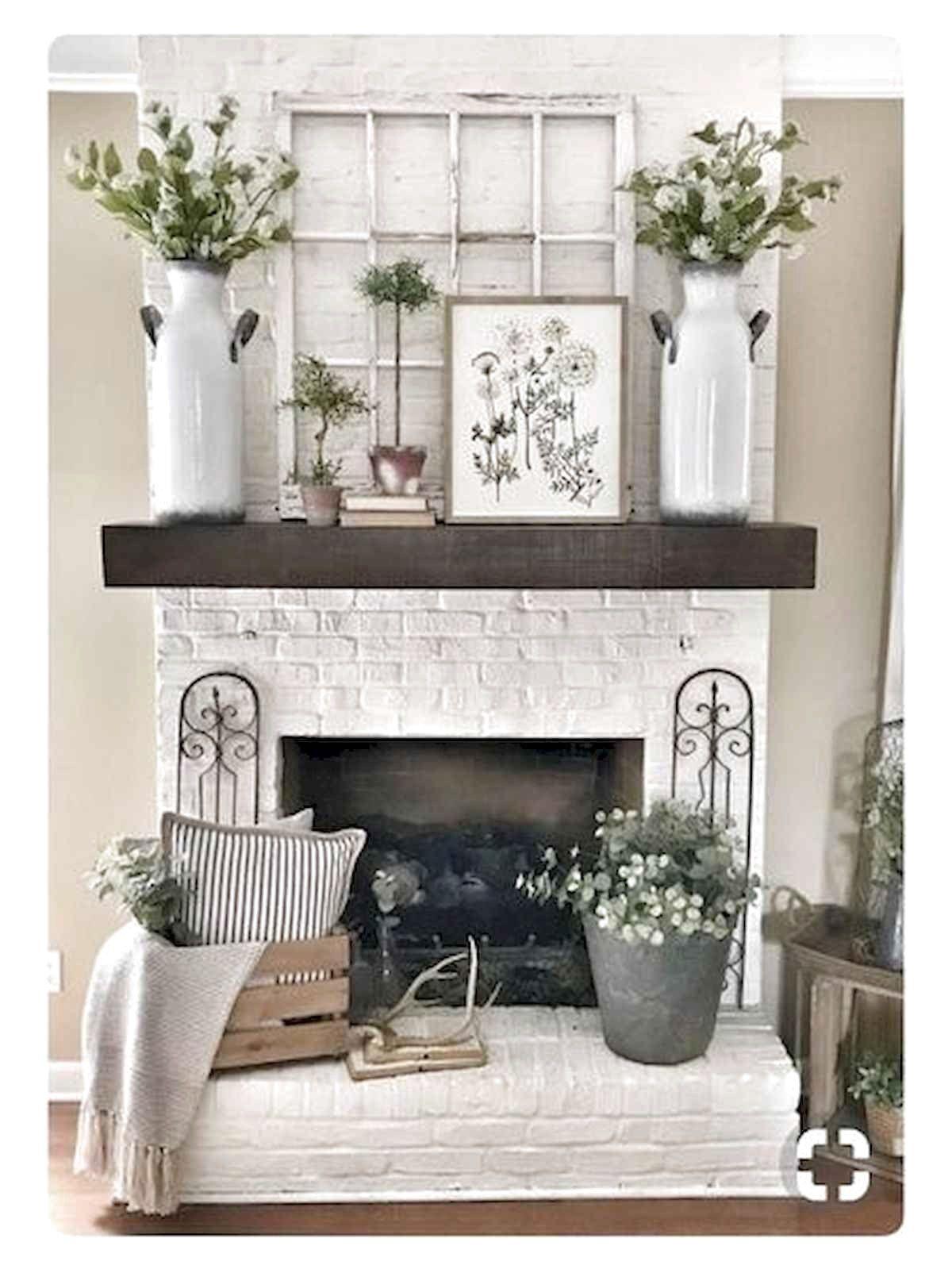 38 Best Modern Farmhouse Fireplace Mantel Decor Ideas Pottery Barn Shelves Fireplace Mantel Decor Decor