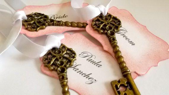 Pink Personalized Vintage Wedding  Key Escort Cards Skeleton Key Place Cards/Name Cards x 15 on Etsy, $30.00